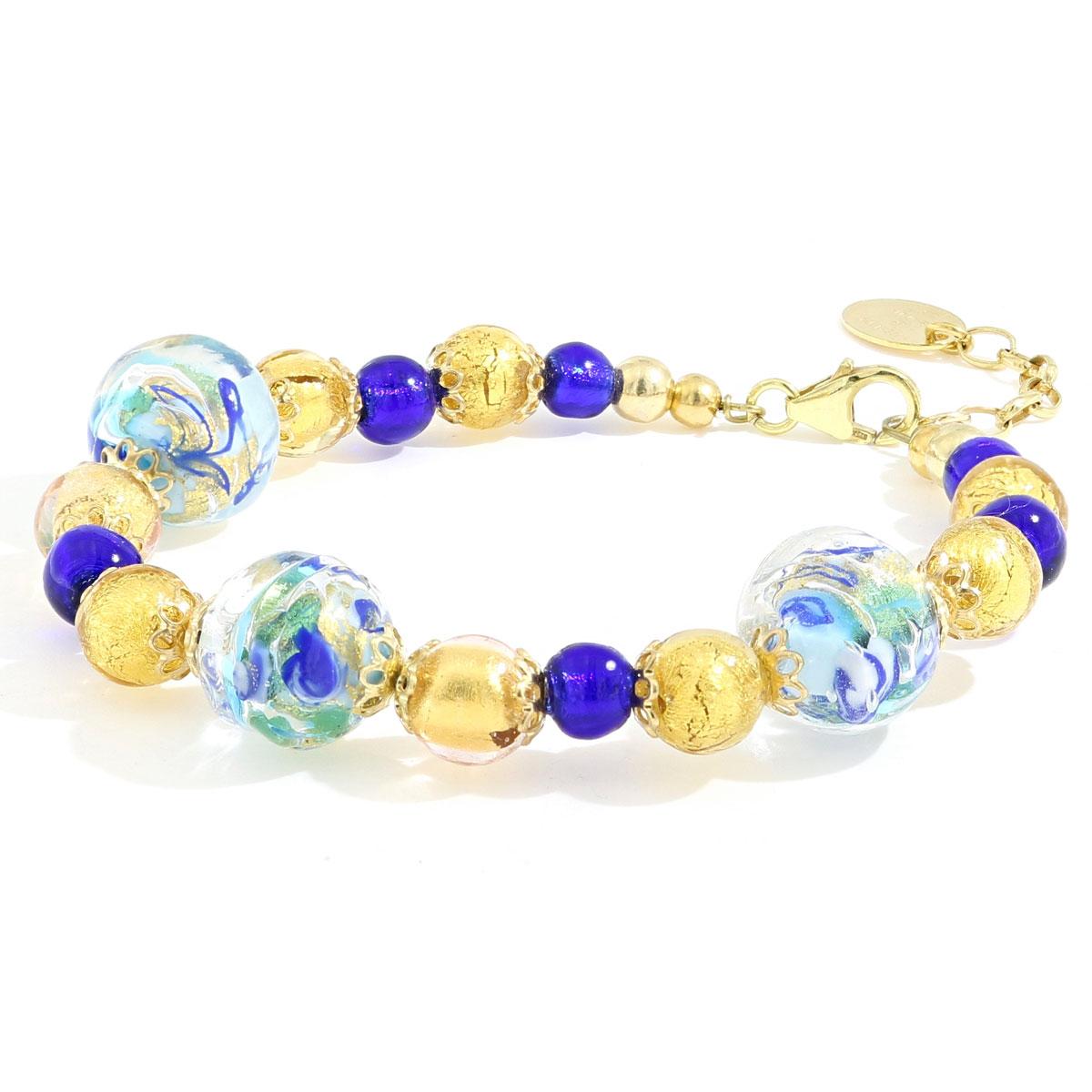 Braccaile Oro e Blu vetro di Murano